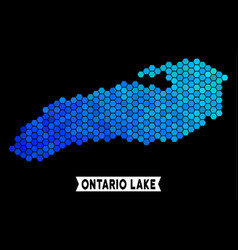 Blue hexagon ontario lake map vector