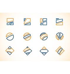 Blue orange logo elements icon set vector image