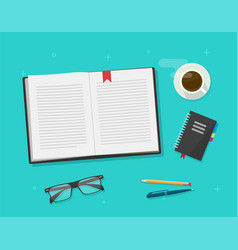 book or notebook diary open reading on learning vector image