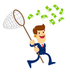 businessman trying to catch money with a net vector image