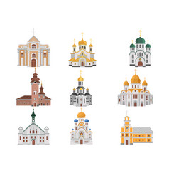 cartoon set of churches with different vector image