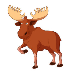 Cartoon smiling moose vector