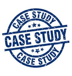 Case study blue round grunge stamp vector