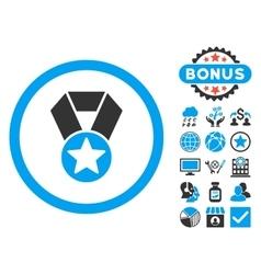 Champion Medal Flat Icon with Bonus vector