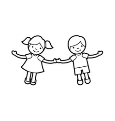 Children holding hands characters vector