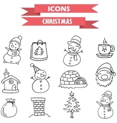 Christmas element icons hand draw vector