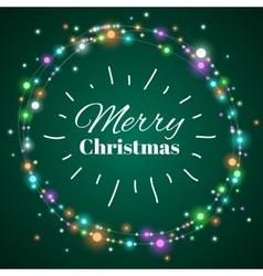 Christmas light wreath decorative lighting vector