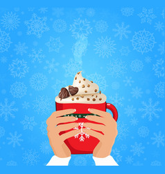 christmas of hands holding cute cartoon red cup vector image