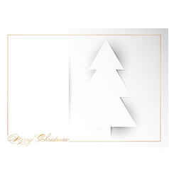 christmas tree on white background paper cut vector image