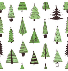 christmas trees hand drawn seamless pattern vector image