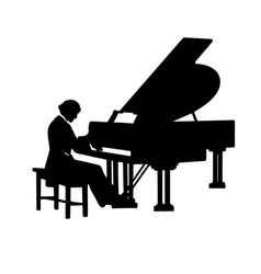 Classical pianist playing piano silhouette vector