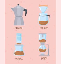 Coffee brewing methods collection moka pot drip vector