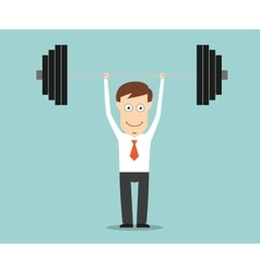 Confident businessman lifting a heavy barbell vector image