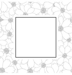 Cosmos flower outline banner card vector