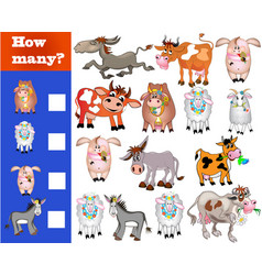 Counting game for preschoolers educational math vector