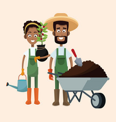 couple farmers wheelbarrow water can and plant vector image
