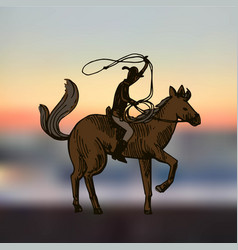 cowboy with horse vector image