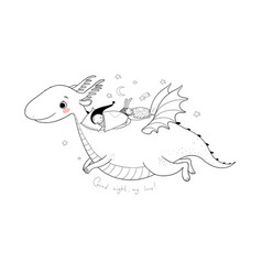cute cartoon gnome is flying on a dragon elf and vector image