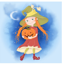Cute cartoon with girl witch vector