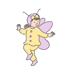 cute child girl in festive costume of butterfly vector image