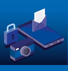 cyber security isometrics icons vector image