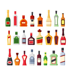 different alcohol glass bottles flat icons vector image
