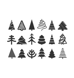Different christmas tree silhouettes isolated on vector