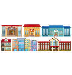 different designs of buildings vector image