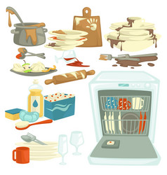 Dirty and clean dishes dishwasher and food remains vector