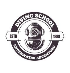 Diving school underwater adventure title vector