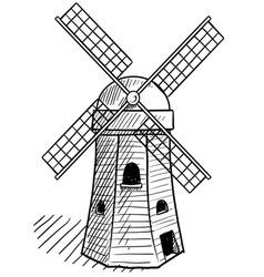 doodle windmill dutch vector image