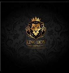emblem with golden lion vector image