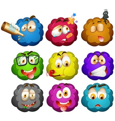 Facial expressions on fluffy balls vector