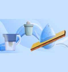 Filter water concept banner cartoon style vector