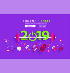 fitness 2019 new year concept workout typography vector image
