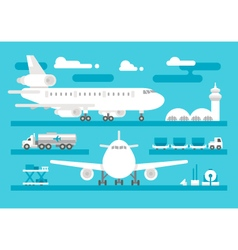 Flat design airport activity set vector