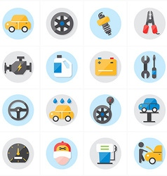 Flat Icons For Car Service Icons vector image
