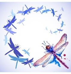 Flying Purple Watercolor Dragonflies vector image