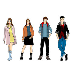 Four fashionable teenagers vector