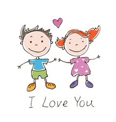 funny doodles girl and boy vector image