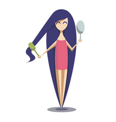 girl with long blue hair she combs her hair and vector image