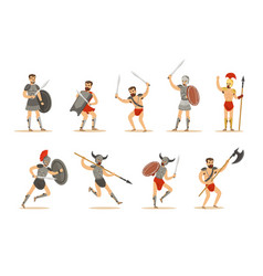 Gladiators of roman empire era in historical armor vector