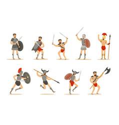 gladiators roman empire era in historical armor vector image