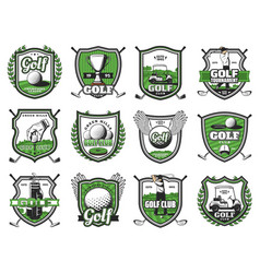golf club badges championship heraldic icons vector image