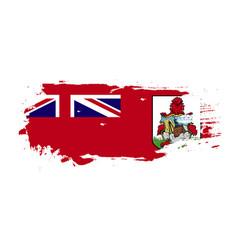 Grunge brush stroke with bermuda national flag vector