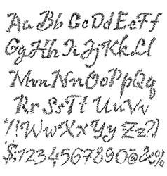grunge zigzag font blackletter ink script vector image