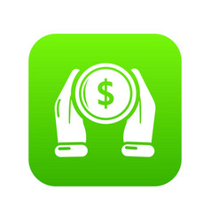 hand coin icon green vector image