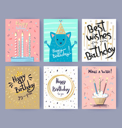 Happy birthday collection of creative postcards vector