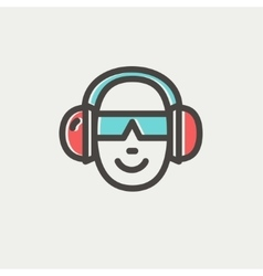 Head with headphone and sunglasses thin line icon vector image