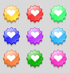 Heart Love icon sign symbol on nine wavy colourful vector image